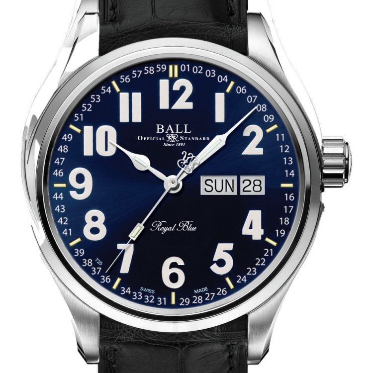 blue dial leather band ball watch